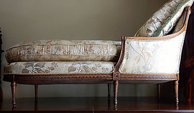 Antique French Carved Louis Xv Duchesse Chaise Lounge Raw Silk Fabric