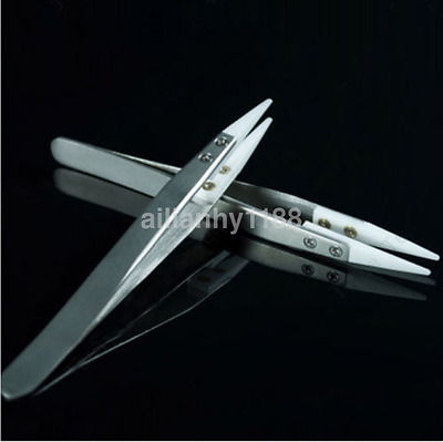 1pcs Ceramic Tipped Stainless Steel Tweezers Fine Pointed Tip Heat Resistant AU