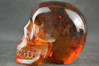 5 inches natural amber ore material carving skull statue & FREE SHIPPING