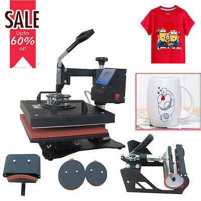 USA 5In1 Digital Heat Press Machine Sublimation DIY T-Shirt Mug Hat Cap Printer