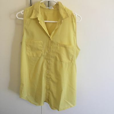 Women's Valleygirl Sleeveless Top, Yellow, Size 10