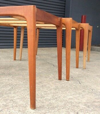 *RARE* MID CENTURY TEAK Retro DINING TABLE BASES Solid VINTAGE. Project