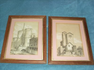 2 Antique Framed Pencil Drawings - Marion Weale 1891 & 1901