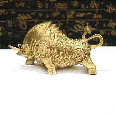 Collectible wealth luck TIBETAN BRONZE BRASS BULL STATUE