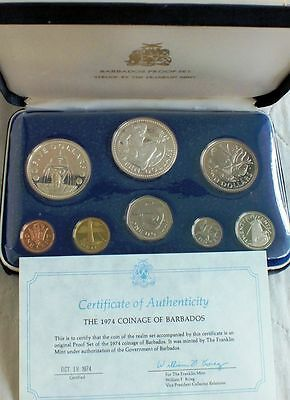 BARBADOS 1974 8 COIN  SET PROOF (with 2 silver coins)