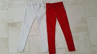 2 Girl's Jeans 7-8 Years (RED & WHITE)