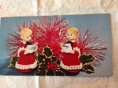 Vintage Christmas Greeting Card  Two Choir Girls Blond Curls Red Dresses Holly.