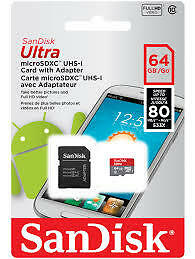 SanDisk Ultra 64 GB microSD SDHC Memory Card UHS-I Class 10 + SD Adapter