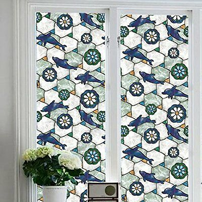 Dolphin Decorative Privacy Window Film Glass Static Cling Self-adhesive L 78.7""