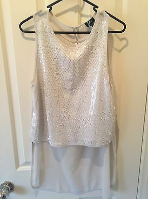 Women's White Sequin Top - Bardot - Size 12