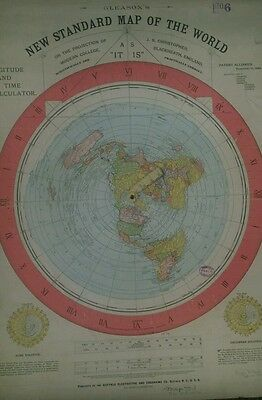2 X FLAT EARTH A1 POSTERS: GLEASON'S NEW STANDARD MAP OF WORLD 1892 (170gsm)