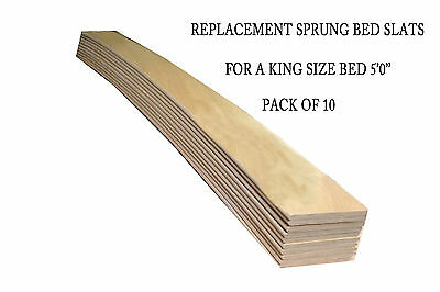 Replacement Beech Sprung Bed Slats For A King Size Bed 5'0'' - Pack Of 10