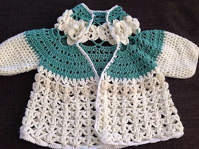 Hand Knitted Girls Cardigan Size3 NEW