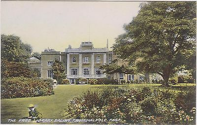 Ealing - The Free Library From Walpole Park -  London - Postcard