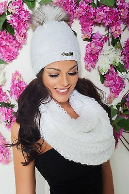 Sale Set Soft Women Winter Knit Scarf Tube and Hat Beanie Crochet Fashionable