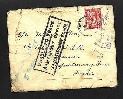 """1915 1d Red Letter To France w """"Unable To Trace"""" + """"Present Location Uncertain"""""""