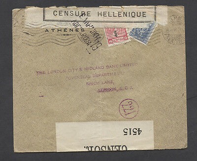 Greece WWI double censor cover to Great Britain.