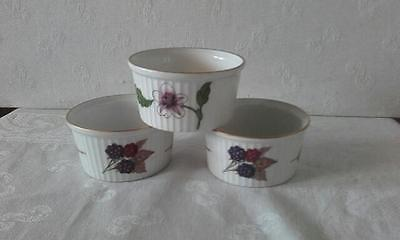 Royal Worcester Porcelain OventoTable Ware Souffle/ Nibbles Dishes (3)  1961
