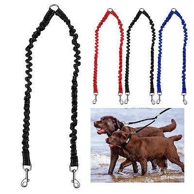 Double Dog Coupler Twin Lead 2 Way For Two Pet Dogs Walking Leash Safety Chain