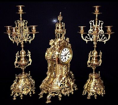 Beautiful Large French Antique Gilt Bronze Set Clock & Candelabras