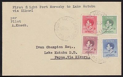 Papua 1937 First Flight Cover Port Moresby-Lake Kutubu KGVI RARE ONLY 17 FLOWN !