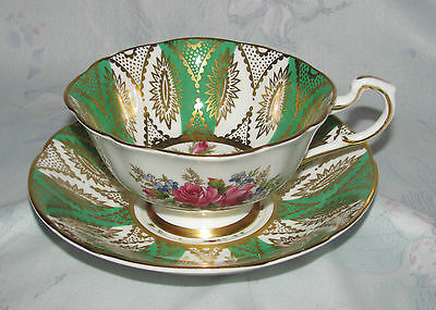 Vintage Paragon Tea Cup and Saucer, Gold and Green with Roses