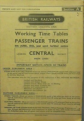 British Rail Working Timetable Southern Region Sec A Central District Main 1953