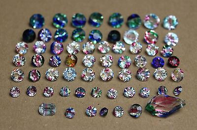 Lot of mix Rhinestones 65 pieces cut shapes iris glass