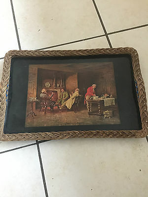 Large Vintage Serving Tray - Raise Wicker Style Edge -