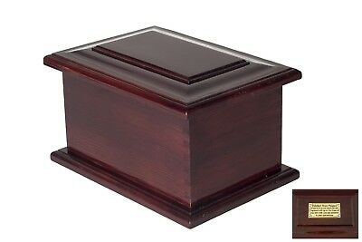 Casket Urn Solid Wood brass handle plaque Memorial Cremation Ashes Funeral Adult