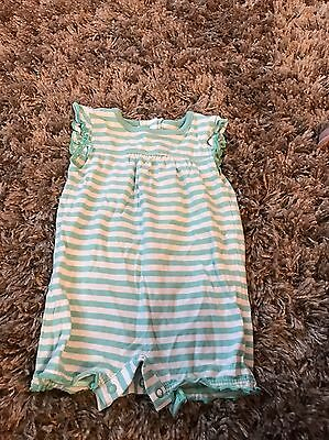 Up To 3 Months M & S Baby Girl Stripy Green Romper
