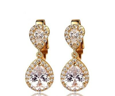 Cecilia Teardrop Crystal Gold / Rose gold Clip on Earrings Bridal Formal Wedding