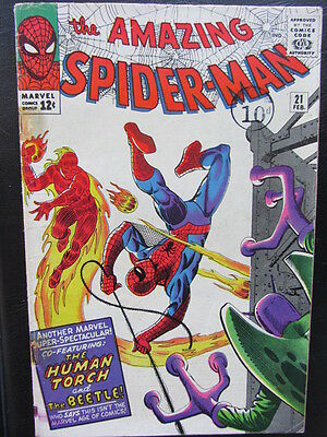 Amazing Spider-man 21 (1965) Human Torch app! Lee/Ditko! Nice VG+ cents copy
