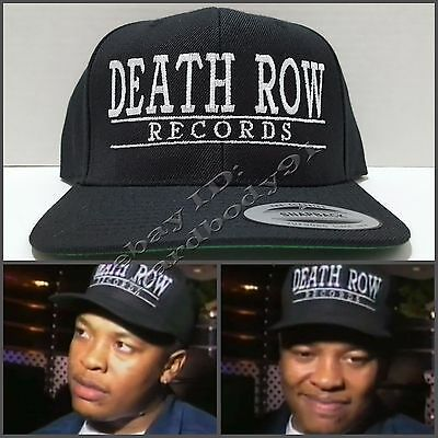 NEW Death Row Records Black Snapback Cap Hat NWA Dr Dre 2Pac Snoop Dogg Compton
