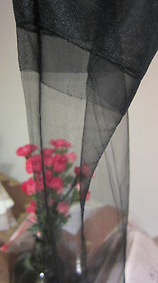 "Vintage Stockings Sheer Jet Black Demi 15 D 9""-31 Very Sheer Full Toe"