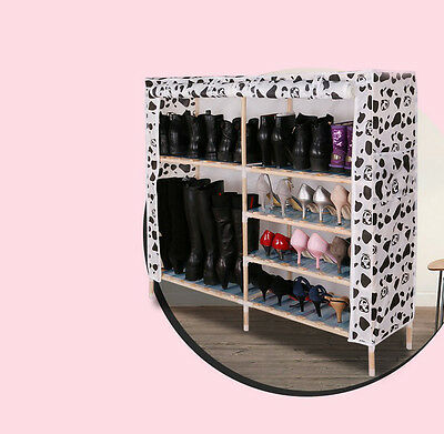 White + Black Dust-Proof Solid Wood Oxford L112*W29*H102CM 6 Layer Shoe Rack !