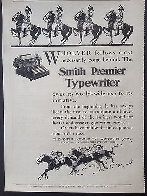 Antique 1908 Ad (E5)~Smith Premier Typewriter Syracuse, Ny.
