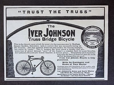 Antique 1907 Ad (E18)~Iver Johnson Truss Bridge Bicycle. Fitchburg, Mass.