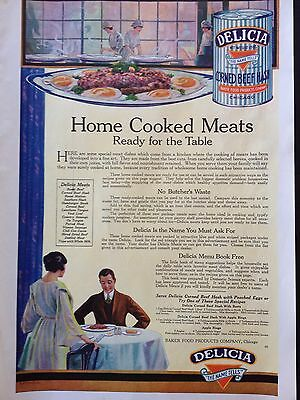 Vintage 1919 Ad {E4}~Delicia Corned Beef Hash. Baker Food Products Co. Chicago