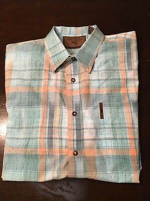 Clearwater Outfitters 100% Cotton Men's XL Plaid Short Sleeved Button Up Shirt