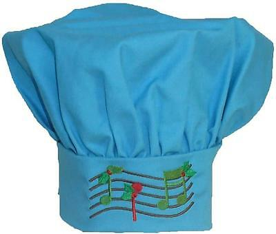 Christmas Music Chef Hat Turquoise Adjustable Kitchen Cook Holiday Monogram NWT