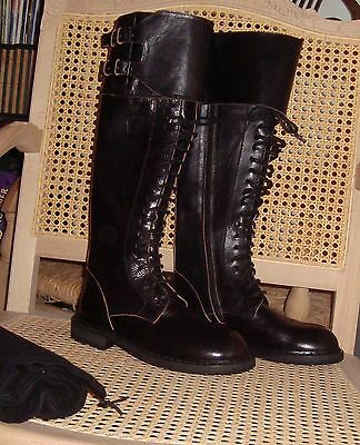 ann demeulemeester black raw edged leather lace up boots - size 36 EU / 7 US
