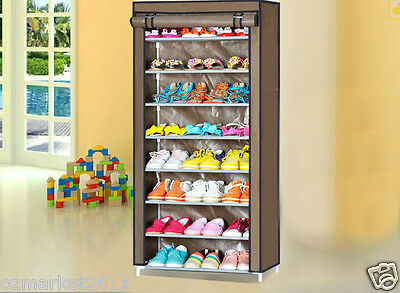 * Coffee Dust-Proof Steel Frame Non-Woven L61*W30*H145CM 8 Layer Shoe Rack !@^