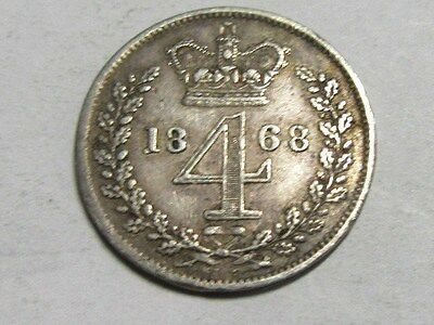 Victoria Young Head Maundy 4D Fourpence 1868.