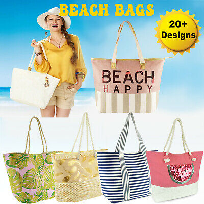 Ladies Nautical Beach Bag Shoulder Canvas Summer Tote Holiday Shopper Gold Zip