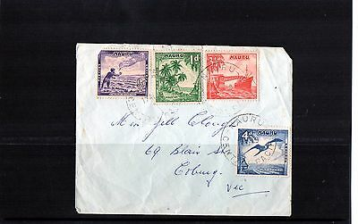 1950s Nauru Short Set Of 4 Pictorials On Cover To Melbourne, Used, Avg Cond