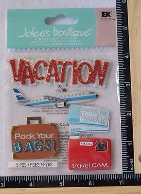 Jolee's VACATION TIME Boutique Stickers TRAVEL PACK YOUR BAGS AIRPLANE