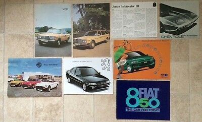 Collection Of 8 Brochures/Automobilia - Chevrolet, Peugeot, MG, Mercedez