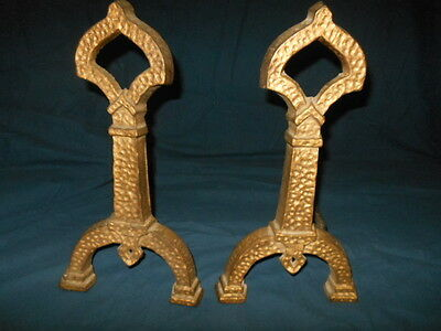 Antique Hammered  Iron Andirons  Numbered On Back As  Shown In Picture  #33