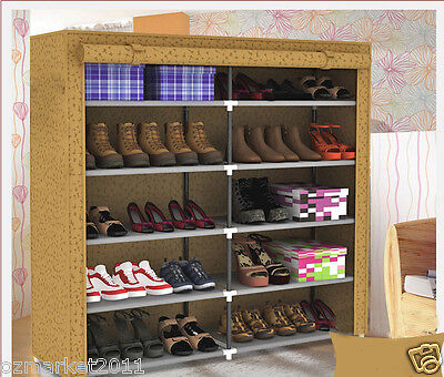 * Apricot Dust-Proof Steel Frame Thicken Non-Woven DIY Shoe Cabinet